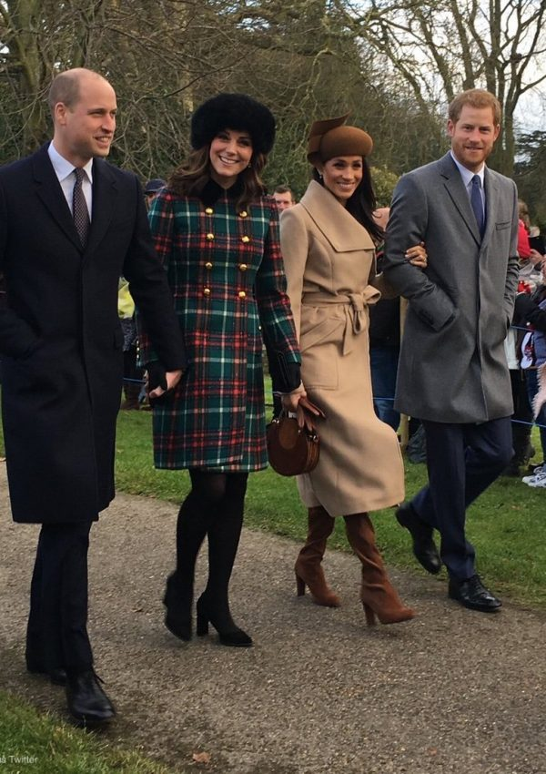 Kate looks festive in green and red coat for Christmas Day service at Sandringham