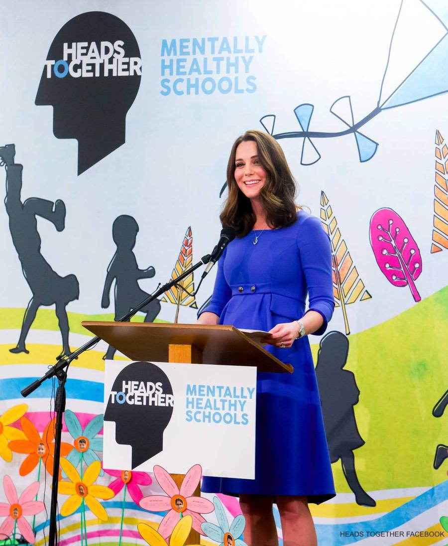 Kate Middleton visits Roe Green Junior School in London to launch new mental health website for the Heads Together Campaign