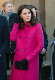 Kate Middleton wearing her pink Mulberry Coat in Coventry