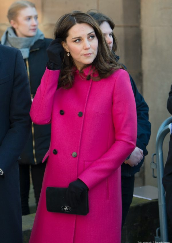 Kate re-wears her pink Mulberry coat for Coventry visit