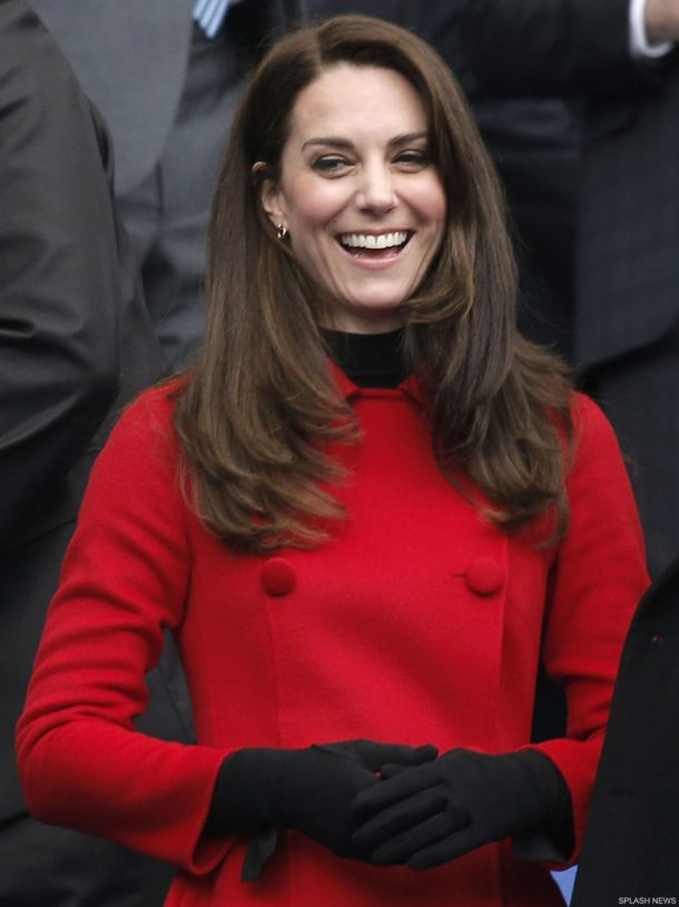 Kate Middleton wearing the Cornelia James Imogen gloves with bow detail in black