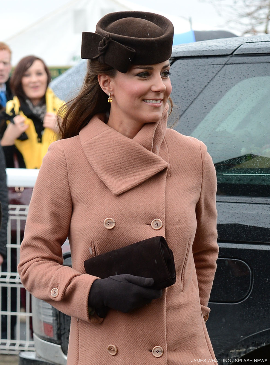 Kate Middleton wearing the Cornelia James Imogen gloves with bow detail (in brown)