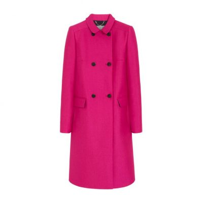 Mulberry Double Breasted Coat in Pink Cerise