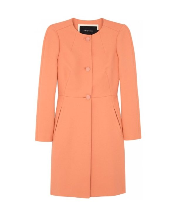 Tara Jarmon Cotton Twill Coat in Coral