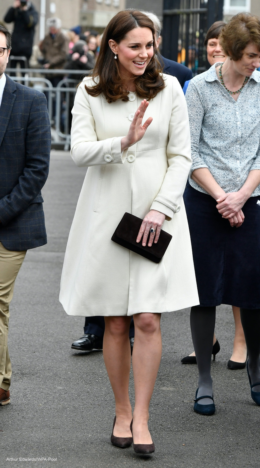 Kate Middleton wearing her cream Jojo Maman Bebe coat