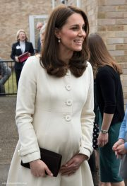 Pregnant Kate Middleton wearing her JoJo Maman Bébé coat