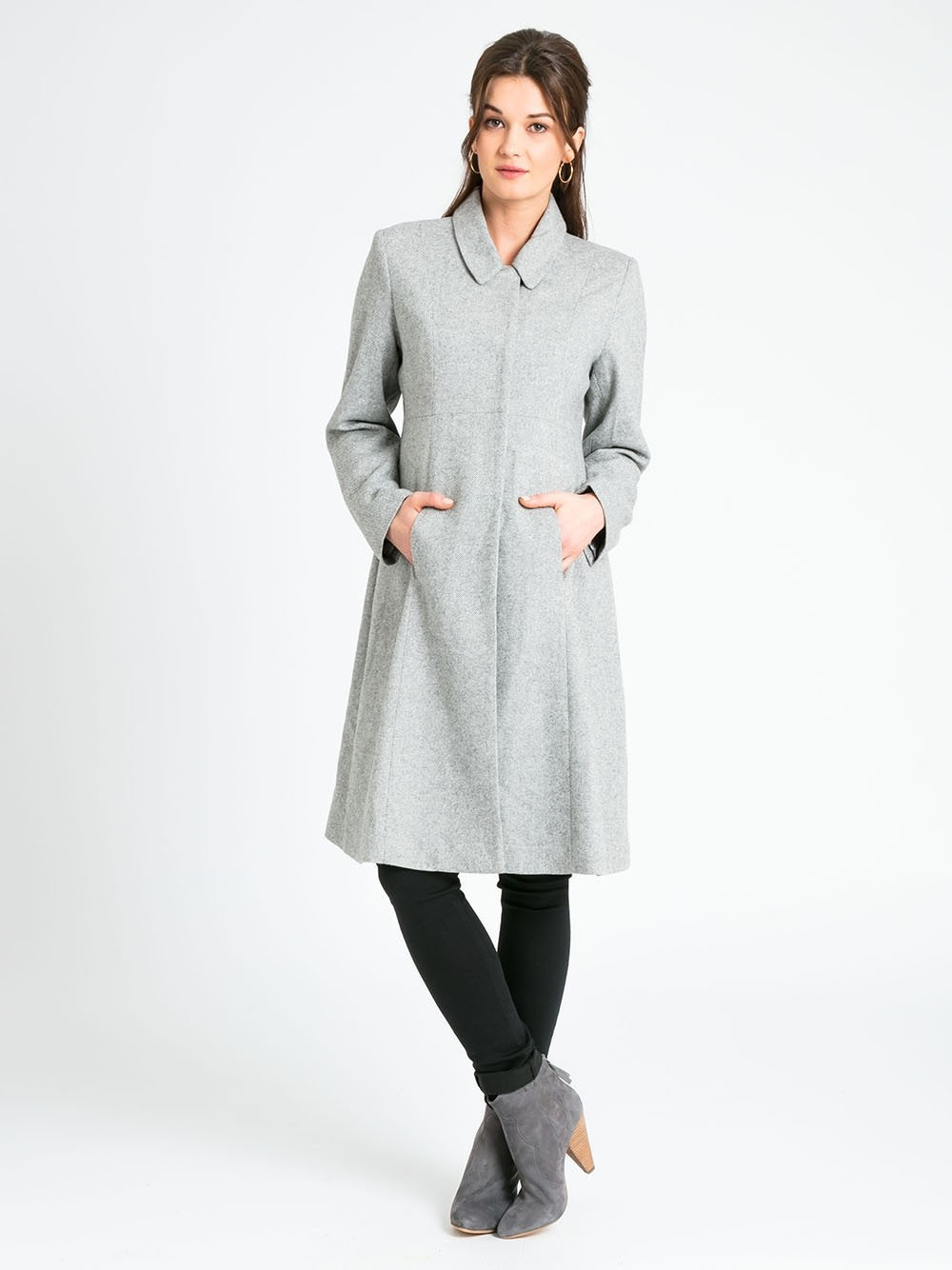 Grey Princess Line Maternity Coat