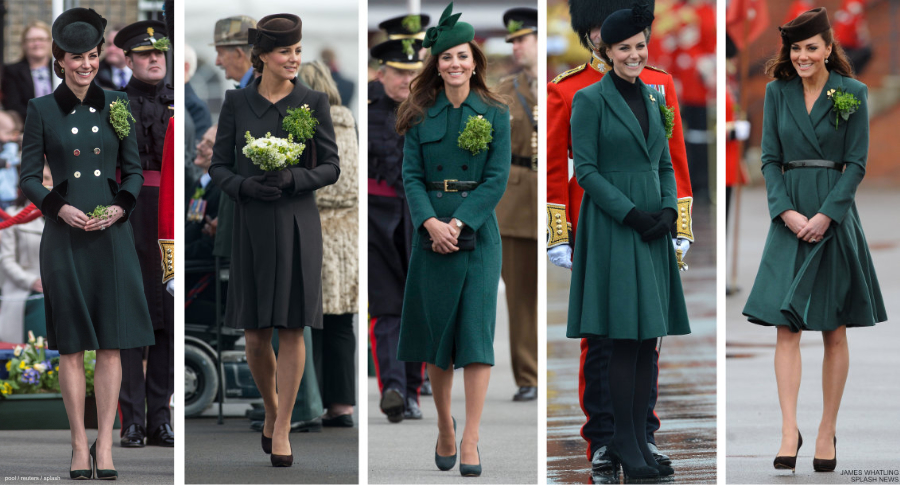 Kate Middleotn's outfits at St Patrick's Day for the Irish Guard Parades