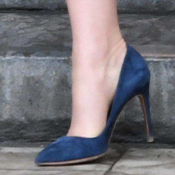 Kate Middleton wearing the blue Rupert Sanderson heels