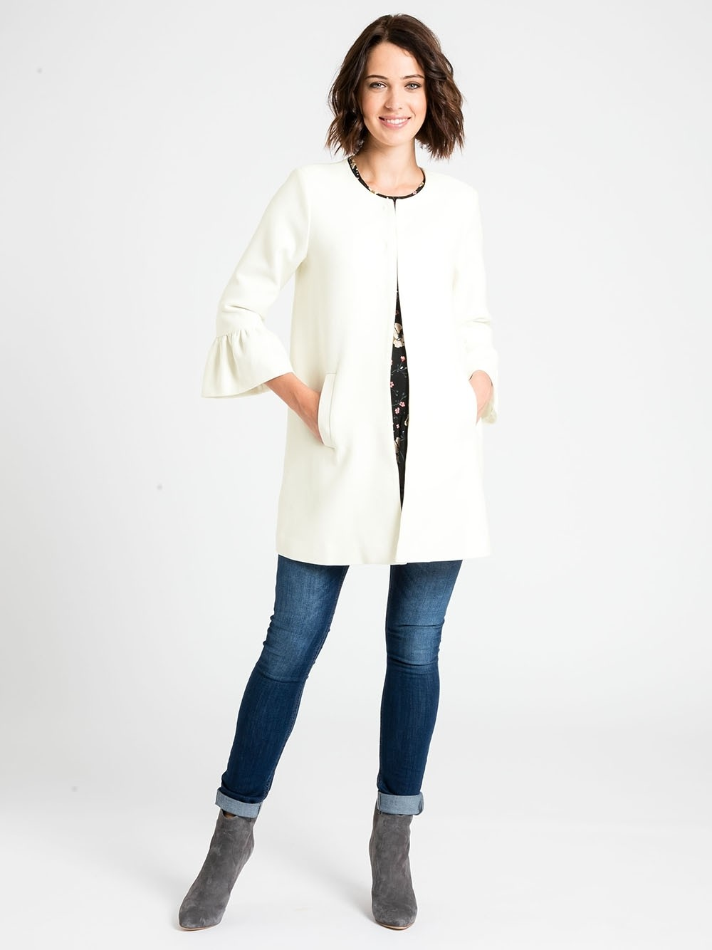 Cream Frill Sleeve Maternity Coat