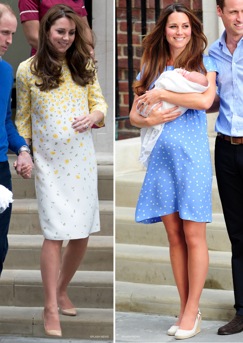 Kate Middleton after giving birth in 2013 and 2015.