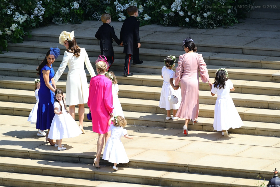 Kate with her children during the ceremony