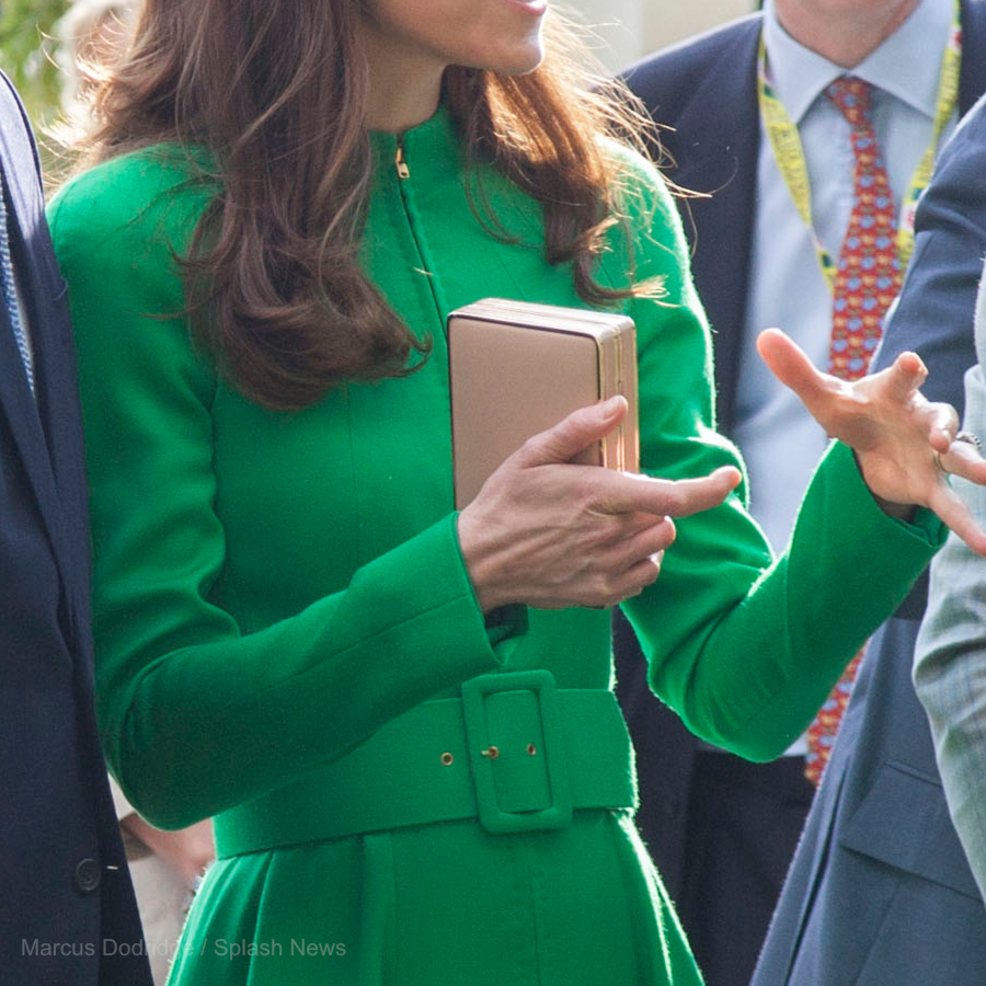 Kate Middleton carrying the L.K. Bennett Nina clutch bag during the 2016 Chelsea Flower Show
