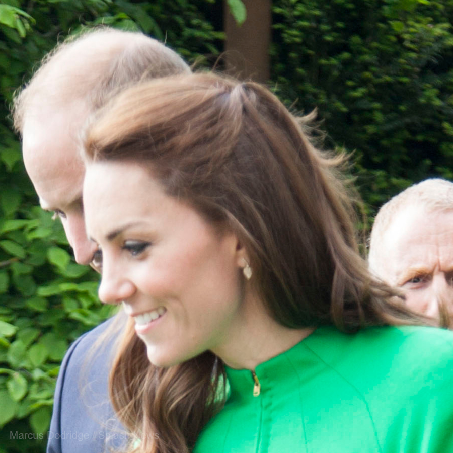 Kate Middleton wearing gold Kiki McDonough Lauren Leaf Earrings in 2016 at the RHS Chelsea Flower Show