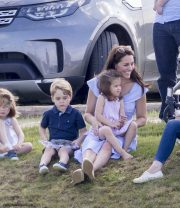 The Duchess of Cambridge (Kate Middleton) at the charity polo match with Prince George and Princess Charlotte in June 2018.