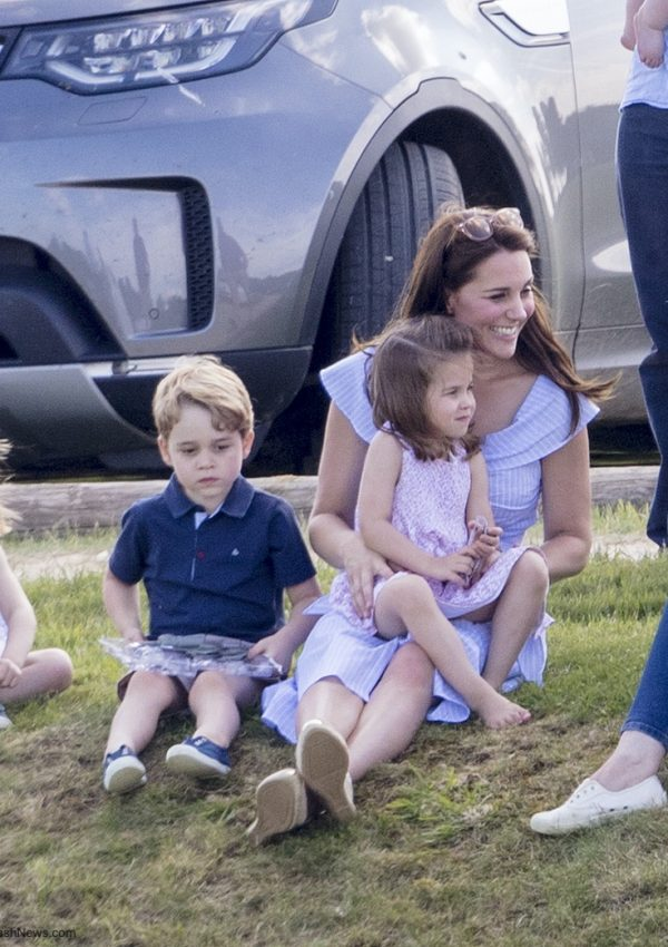Kate in blue Zara summer dress at charity polo match