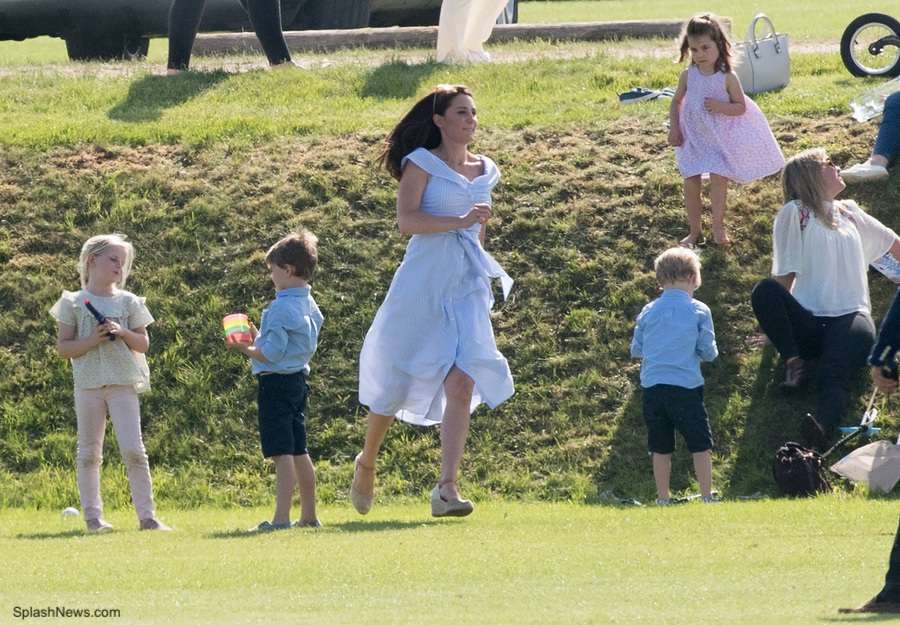 Kate running around with her children at the charity polo match