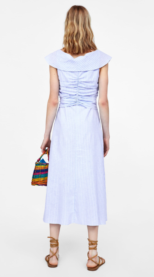 Back of the Zara blue striped ruched dress