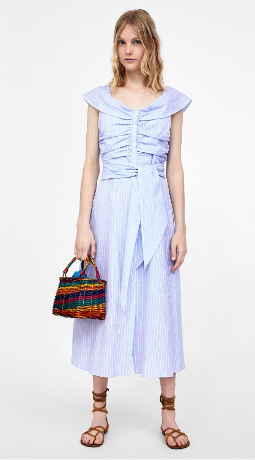 Zara blue striped ruched dress