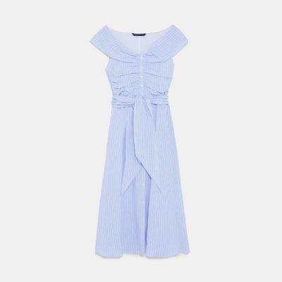 Zara blue striped off-shoulder dress