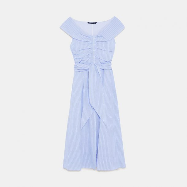 Zara blue striped off-shoulder dress
