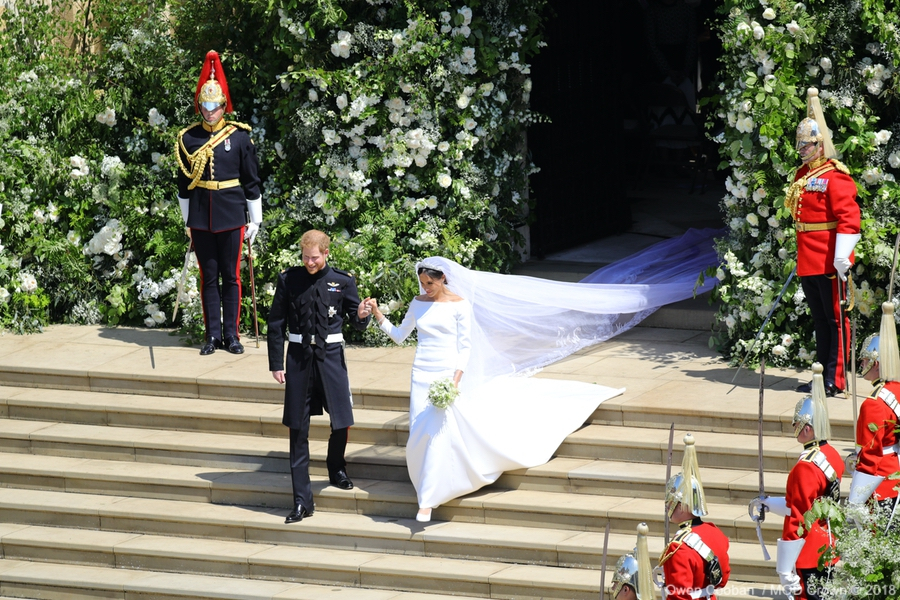 Meghan and Harry at their wedding back in May