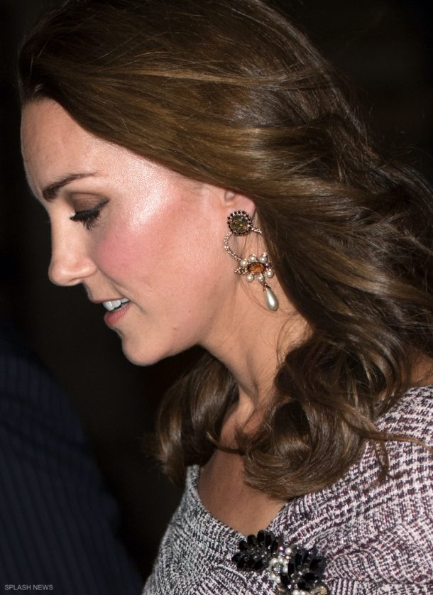 Kate's earrings at the V&A Photography exhibition