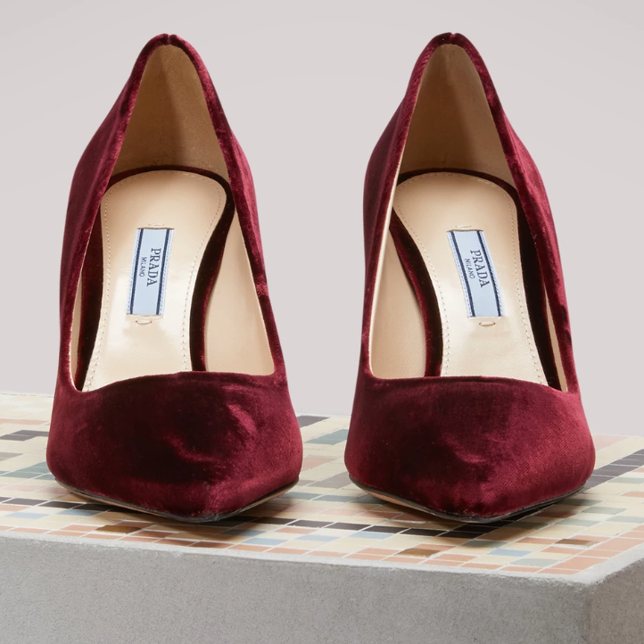Kate Middleton's burgundy velvet heels by Prada