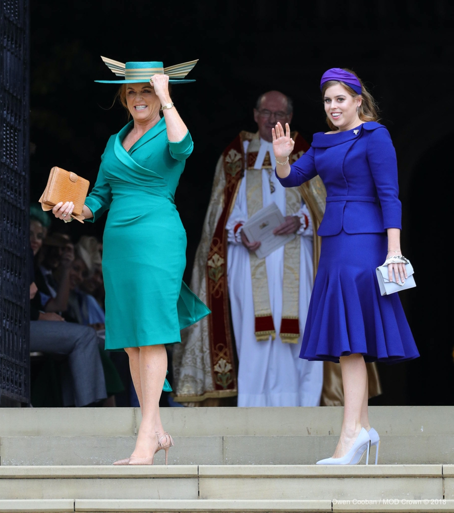 Princess Beatrice and Sarah, Duchess of York at Princess Eugenie's wedding