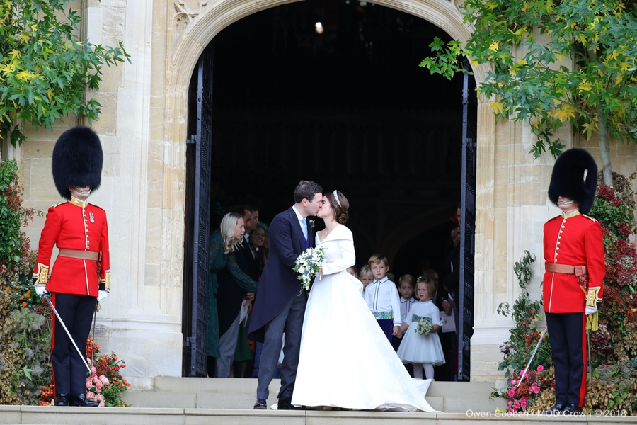 Princess Eugenie and Jack kissing at the Royal Wedding