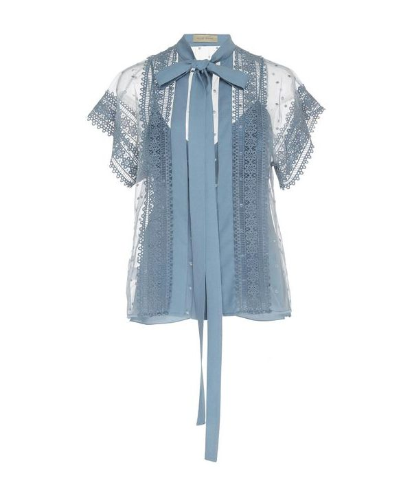 Blue pussybow blouse by Elie Saab. From the resort 2019 collection.