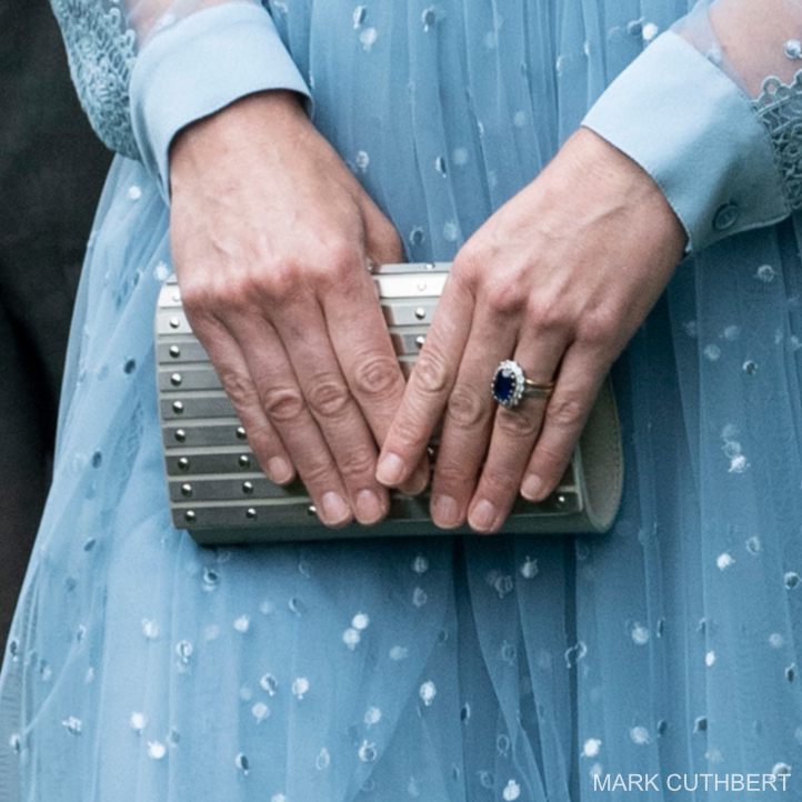 Kate Middleton holding the silver Elie Saab clutch bag