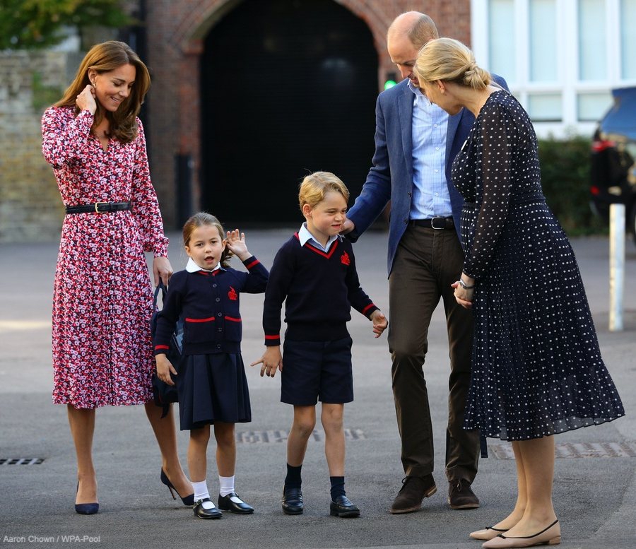 Ms Haslem, Princess Charlotte's teacher, wore a navy blue polka dot dress by L.K. Bennett