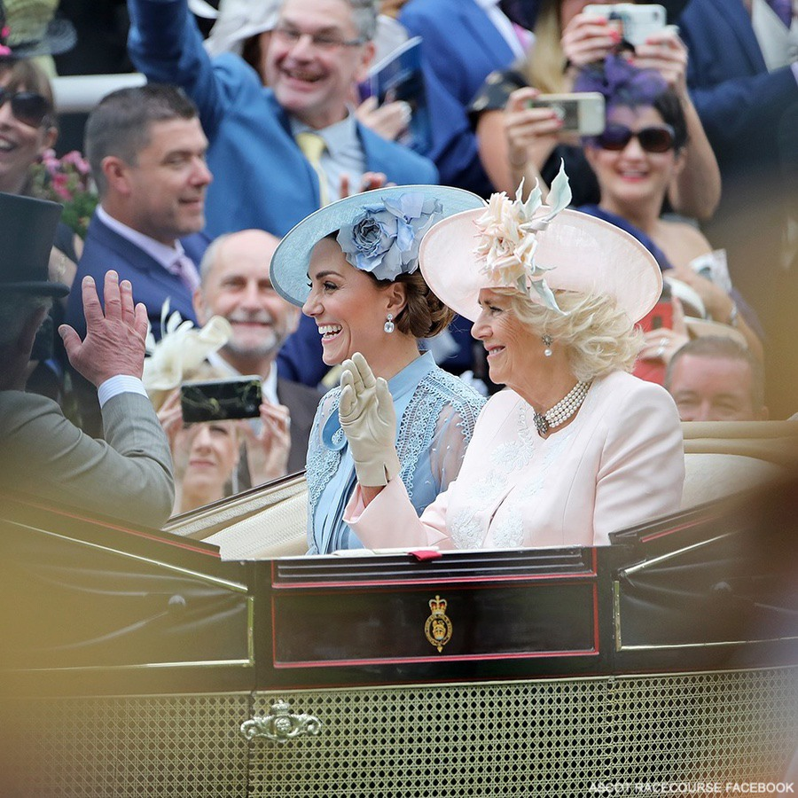 The Duchess of Cambridge sits alongside the Duchess of Cornwall in the Royal Procession at Ascot.