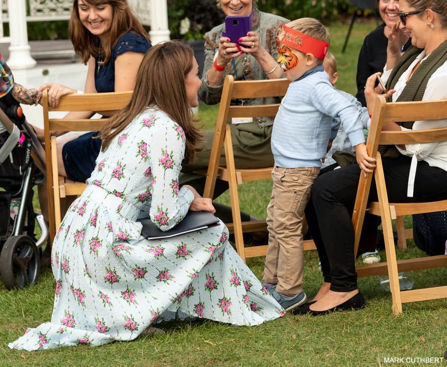 The Duchess of Cambridge chatting with children at RHS Wisley