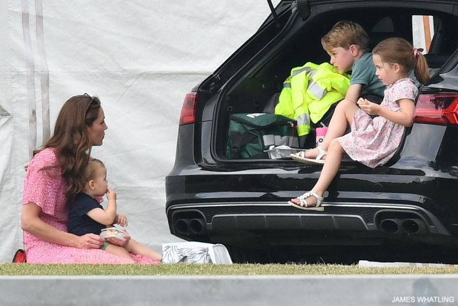 Kate Middleton with her two sons and daughter at the Charity Polo match
