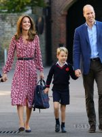 The Duke and Duchess of Cambridge dropping Prince George and Princess Charlotte at school.