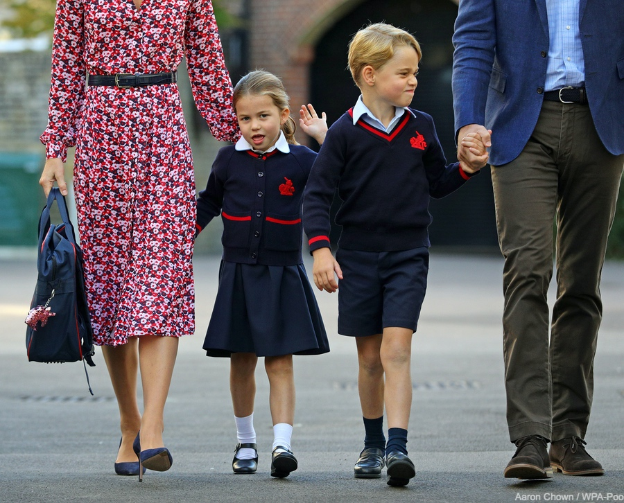 Princess Charlotte on her first day at school with brother Prince George