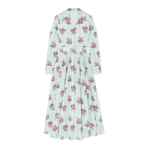 Light blue floral printed Emilia Wickstead dress worn by Kate Middleton, the Duchess of Cambridge