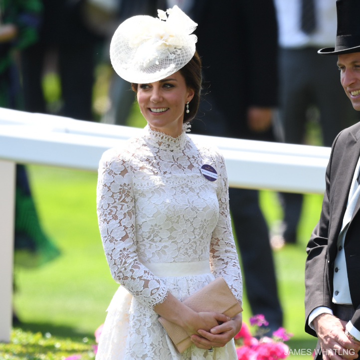 Kate Middleton carrying a nude clutch bag to Royal Ascot in 2017